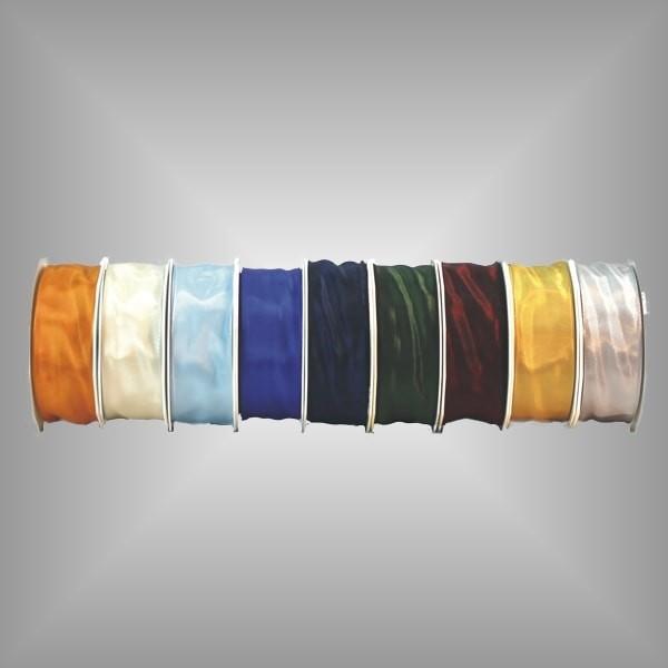 Satinband mit Drahtkante 40mm breit, 25m Rolle