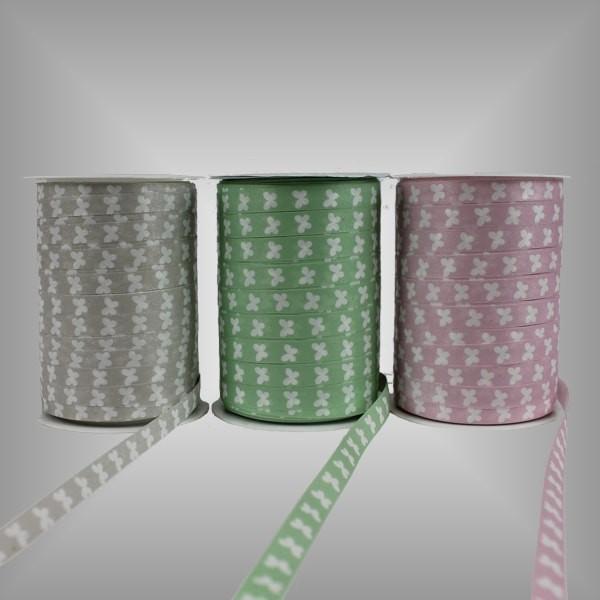 Kräuselband Pastell mit Motiv, 10 mm breit