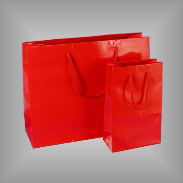 Rote Lacktasche mit Kordeln, versch. Größen