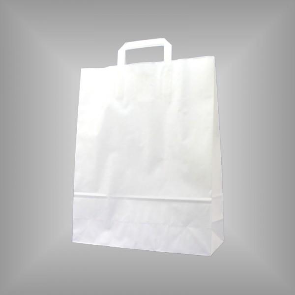 250 Papiertüten weiß 32x12x40cm, flache Henkel