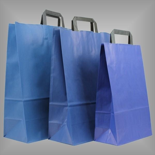 250 Papiertüten blau, flache Griffe, versch. Größen