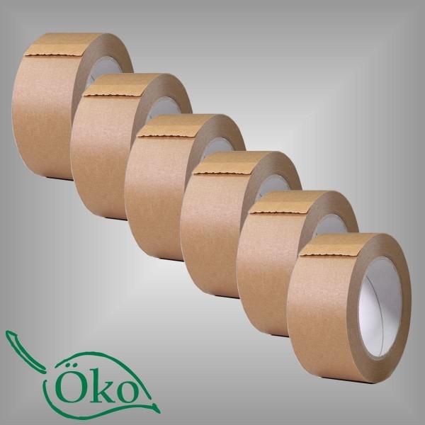 6 Papierklebebänder braun