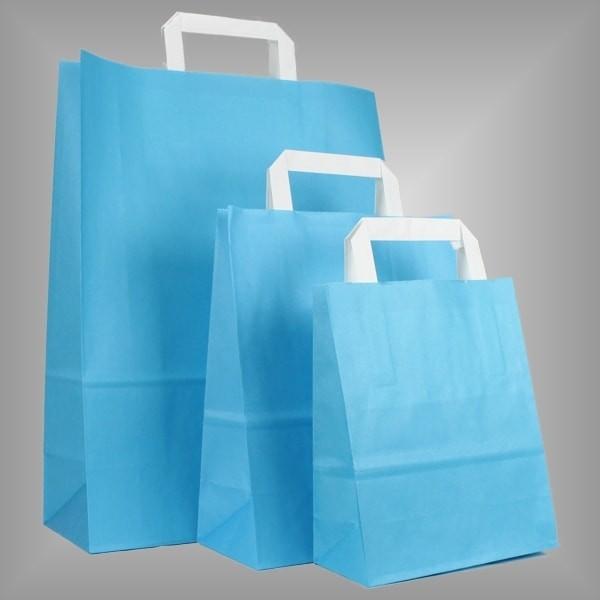 250 Papiertüten hellblau, flache Griffe, versch Größen