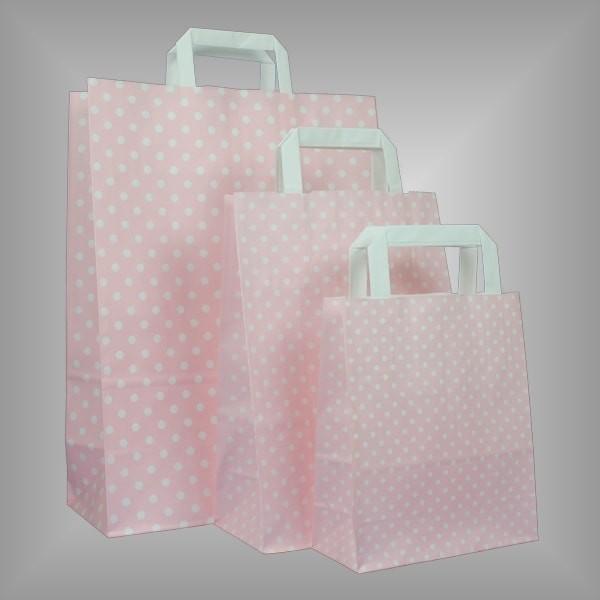 250 Papiertüten rosa mit weißen Punkten