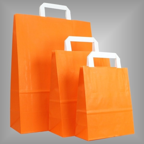 250 Papiertüten orange, flache Griffe, versch Größen