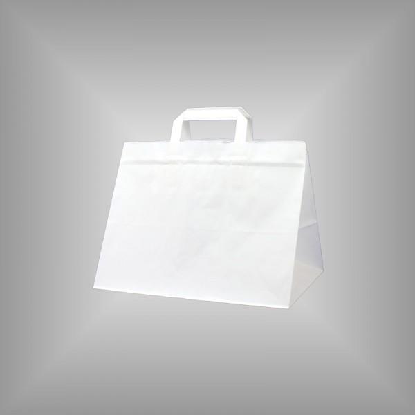 250 Papiertüten weiß 32x22x27cm, flache Henkel