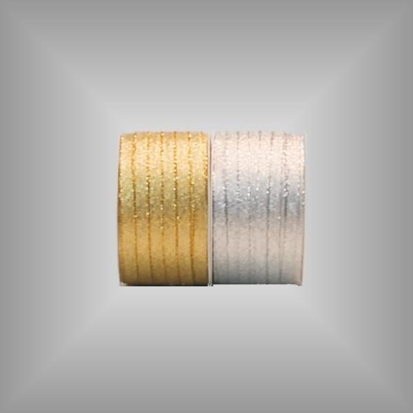 Textilband Brokat Gold Silber, 5mm breit, 50m Rolle
