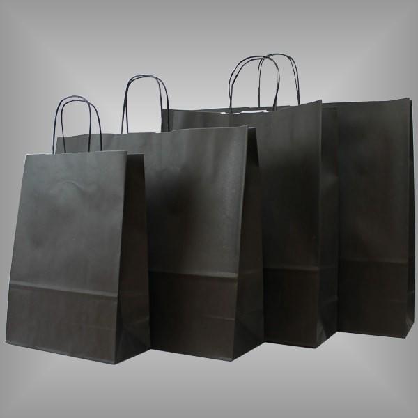 Papiertragetaschen schwarz, versch. Größen