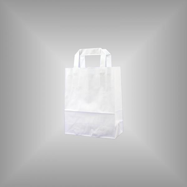 250 Papiertüten weiß 18x8x22cm, flache Henkel