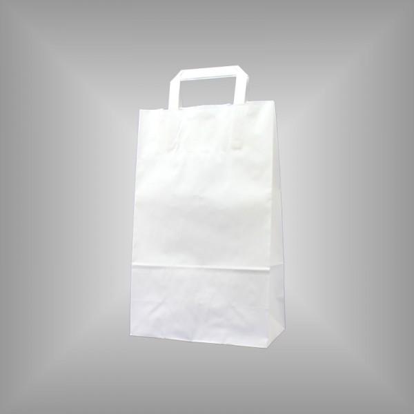250 Papiertüten weiß 22x10x36cm, flache Henkel