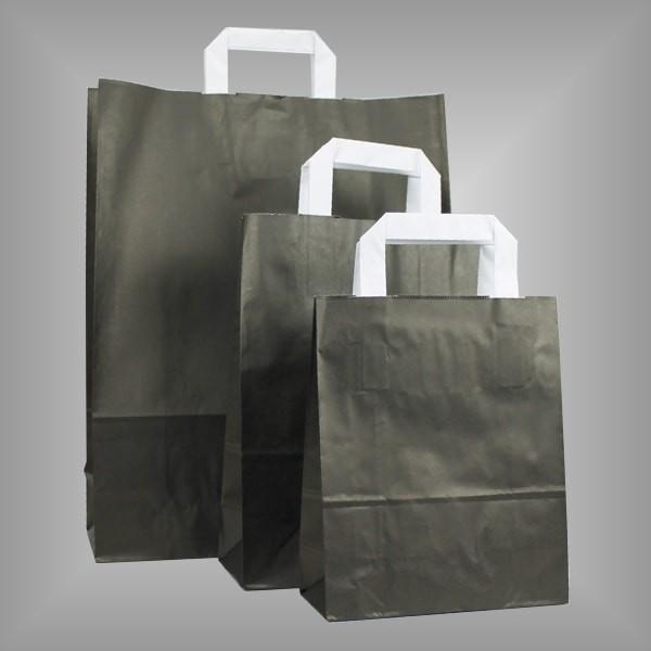 250 Papiertüten schwarz, flache Griffe, versch Größen