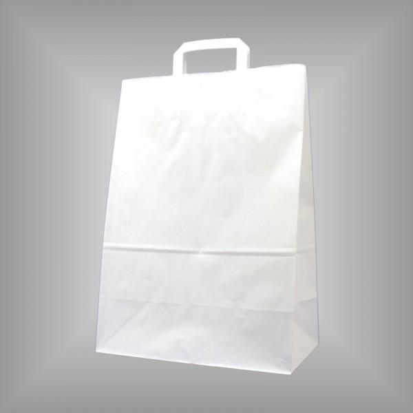 250 Papiertüten weiß 32x17x44cm, flache Henkel