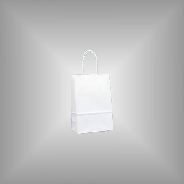 500 Papiertüten weiß 15x8x20cm, gedrehte Henkel