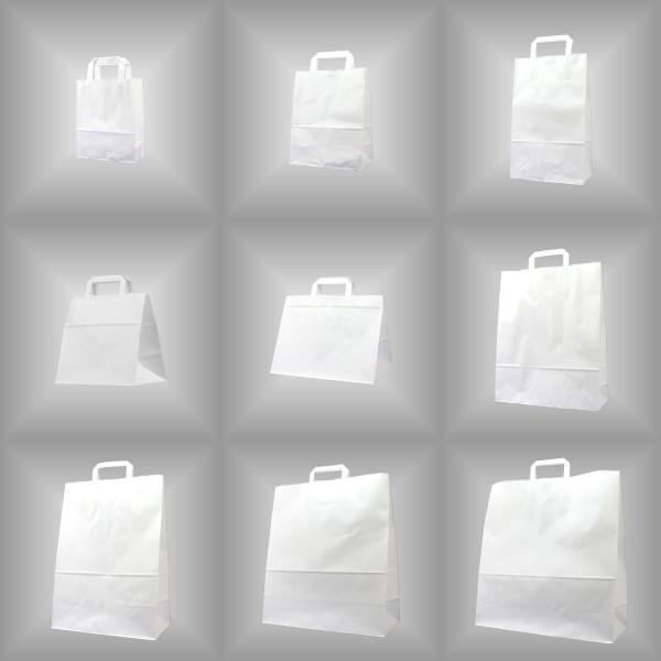 150 Papiertüten weiß 45x17x47cm, flache Henkel