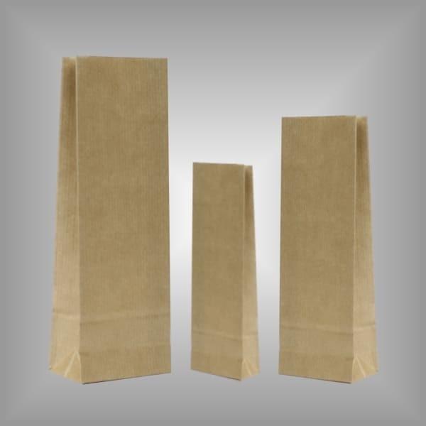 Papierblockbodenbeutel braun, Pergamin-Innenlage