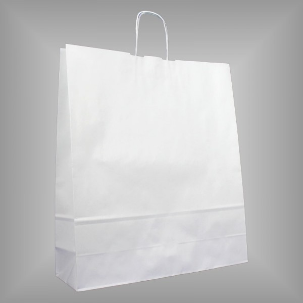 150 Papiertüten weiß 44x14x50cm, gedrehte Henkel